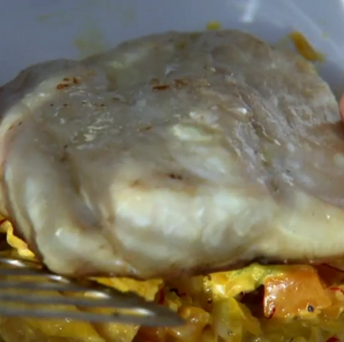 Ellis Barrie's wild sea bass with vegetables and saffron sauce on Contryfile