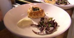 James Strawbridge beef sushi roll starter on The Hungry Sailors