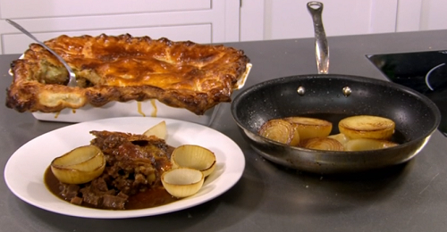 Beef and ale pie with beer braised onion petals on Saturday Mornings with James Martin