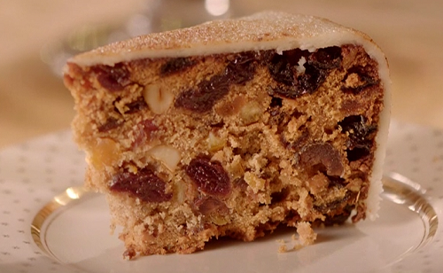 Last minute spiced Christmas cake  with apricot jam and marzipan on The Hairy Bikers Home for Ch ...