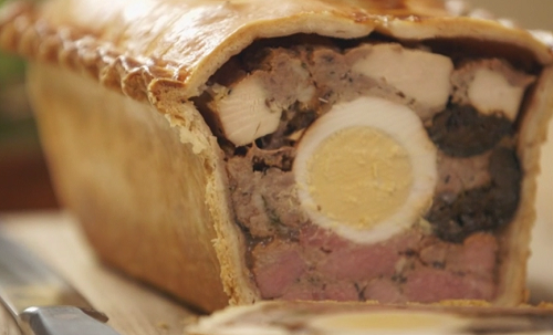 Mary Berry's raised pie with gammon, chicken and sausage meat on Saturday Kitchen