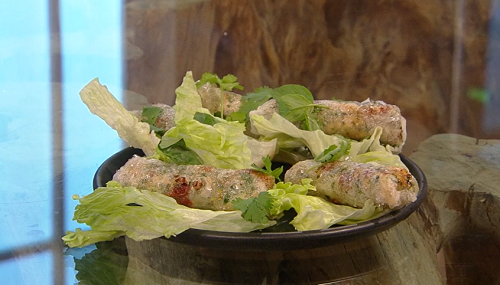 Ken Hom's Crispy chicken and sun-dried tomato spring rolls on Saturday Kitchen