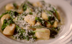 Squash and sage gnocchi  with spinach on The Hairy Bikers Home for Christmas