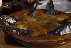 Charles' stargazy fish head pie on The One Show