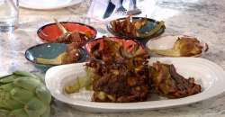 Giorgio Locatelli's carciofi alla giudiaca (artichokes) on Sunday Brunch