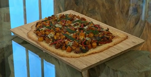 Jane Baxter's squash, pecan, spinach and blue cheese torte on Saturday Kitchen
