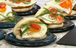 Pritesh Mody Taiwanese breakfast bao chive pancake on Sunday Brunch