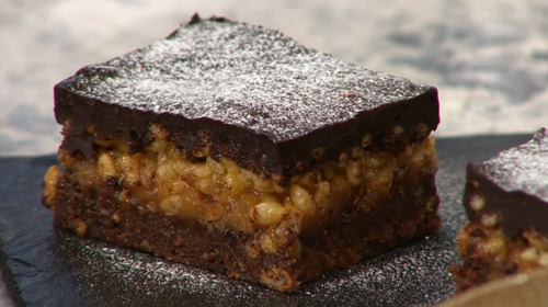 Big Bosh Billionaire's Chocolate Lasagne vegan dessert on Sunday Brunch