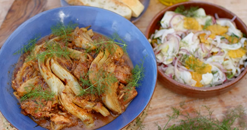 The Hairy Bikers Sardinian lamb and fennel stew with a orange and  fennel salad