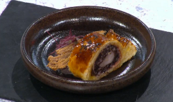 Winning rabbit sausage roll dish on Sunday Brunch