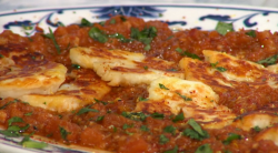 John Gregory-Smith  Moroccan smoked aubergine in tomato sauce on Sunday brunch