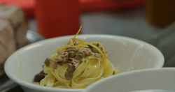 Andrea's pasta with black olives and tuna on The Hairy Bikers' Mediterranean Adventure