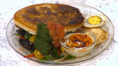 Pritesh Mody's Yemenis pancakes with slow cooked eggs on Sunday Brunch