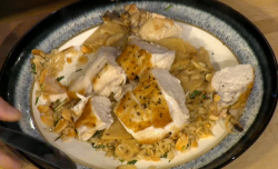 Simon Rimmer chicken with cider, creme fraiche and braised rice  on Sunday Brunch