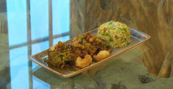 Cyrus Todiwala crab fritters with deep fried langoustine tails, egg fried rice and a cashew and  ...