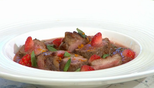 Adria Wu Strawberry Marinated Duck Breasts on Sunday Brunch