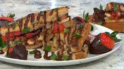 Adria Wu Strawberry French Toast with Walnut Butter on Sunday Brunch