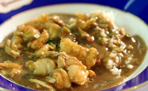 Joseph's seafood gumbo with rice  dish for James Martin's American Adventure