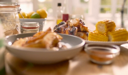Matt Tebbutt piri piri chicken with spiced potato wedges and sweetcorn on on Save Money: Good food