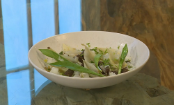 Pam Brunton burnt grain dumplings, wild leeks and sheep's curd : Saturday Kitchen