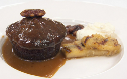 Jess Gardham's banana sticky toffee pudding with pecans and a toffee sauce and vanilla whi ...