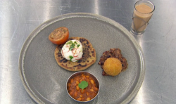 Nisha's bacon jam with sausage and black pudding stuffed paratha, red chilli and coriander poach ...