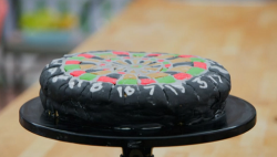 Lee Mack bullseye cake made using his wife's recipe on The Great Celebrity Bake Off Stand  ...