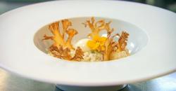 Javi Blanco cauliflower starter cooked by Moonira at the Eneko Spanish Restaurant in London on M ...