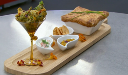 Moonira's chicken chilman biryani with a pastry top, served with spinach and potato pakora ...