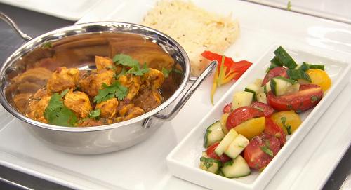 Moonira Masterchef's  Karahi chicken curry with pulao rice and kachumber