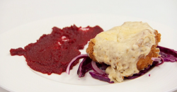 Anthony's Masterchef chicken parmo with red cabbage slaw and beetroot ketchup