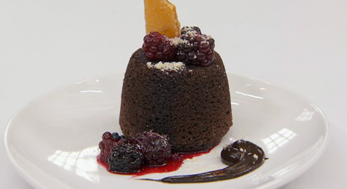 Sesi's chocolate cake with ganache and blackberry sauce made using her mom's recipe  ...