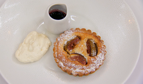 Kenny's fig and almond tart with Chantilly cream on Masterchef 2018