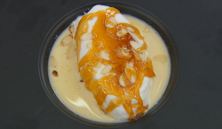 David's floating island  with poached meringue, caramel and almonds dessert on Masterchef 2018
