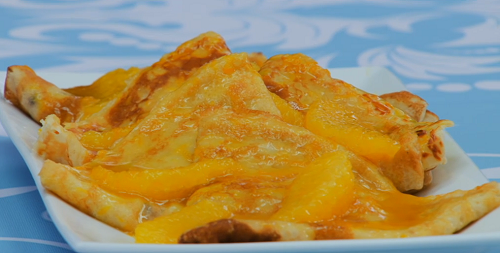 Paul Hollywood crepes Suzette (French pancake) showcased on The Great Celebrity Bake Off