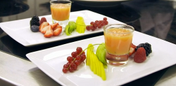 Renato's fruit salad with papaya and champagne smoothie dessert at the Grand resort Bad Ra ...