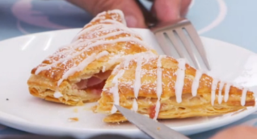 Paul Hollywood fruit turnovers with apricot and raspberries on The Great Celebrity Bake Off