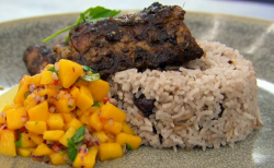 Nisha's Jamaican jerk chicken with coconut rice and peas, and a mango salsa dish on Master ...