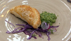 Nisha's lamb Keema puff pie with mint and Bramley apple chutney on Masterchef 2018