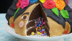 Melanie Sykes showstopper Frida Kahlo chocolate passion cake on The Great Celebrity Bake Off Sta ...