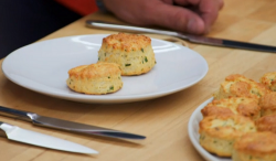 Nick Hewer cheese and chives scones on The Great Celebrity Bake Off Stand Up to Cancer