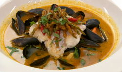 Nisha's pan fried hake with crispy samphire pakoras and mussels in a Malaysian laksa style broth ...