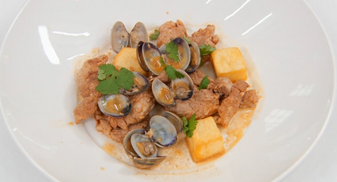 Alex's Masterchef pork with clams and chips dish