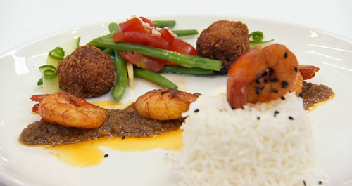 Sweta Masterchef  Assamese prawn curry with ghee rice, fritters, green beans and a chilli lime d ...
