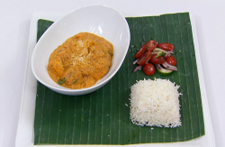 Nisha's salmon curry with rice and kachumber on Masterchef 2018
