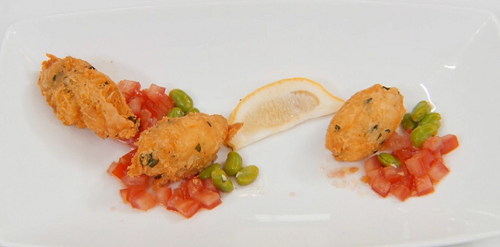Alex's Masterchef salt cod fritters with a tomato and broad bean salsa dish