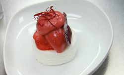 Javi Blanco strawberry, rose and marshmallow dessert made by Louise at the Eneko Spanish Restaur ...