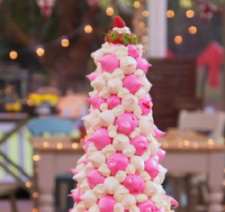 Jamie Laing strawberry and white chocolate Eton Mess meringue tower on The Great Celebrity Bake  ...