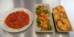 Anthony O'Shaughnessy Masterchef Syrian inspired maize dishes containing a red pepper, pomegrana ...