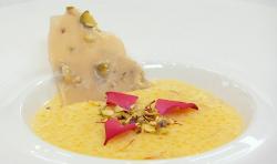 Sweta Masterchef tapioca kheer with saffron, cardamom and pistachio brittle dessert